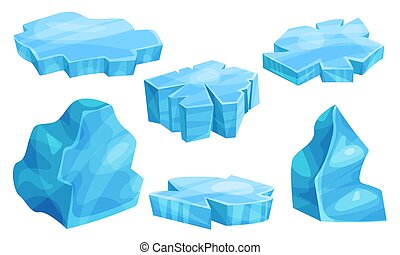 Set of flat pieces of ice. Vector illustration. - Set of ...