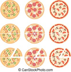 Set of flat pizza icons isolated on white. Vector