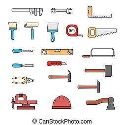 Set of flat repair hand-driven tools.