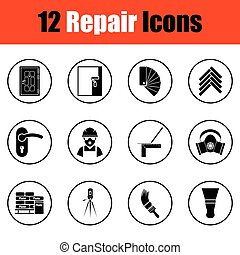 Set of flat repair icons