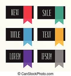 set of flat ribbon style sale and offer labels