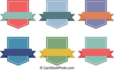 Set of flat ribbons banners with shield. Vector illustration