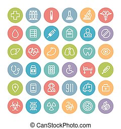 Set of Flat Round Medical Icons - Set of Flat Round Icons...