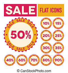 Set of flat sale labels