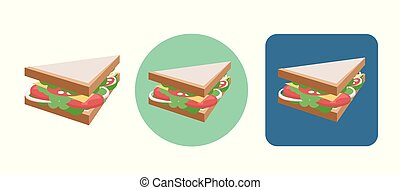Set of flat sandwich icons in isometric style.