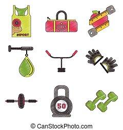 Set of flat shading style icon gym