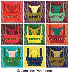 Set of flat shading style icons Sports top