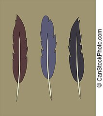 set of flat simple feather vintage color illustration