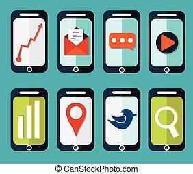 set of flat smartphones designs