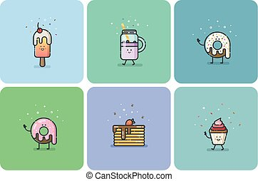 Set of flat street food icons, deserts, sweets, cute cartoon food characters