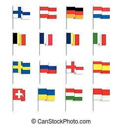 Set of Flat Style European Flags