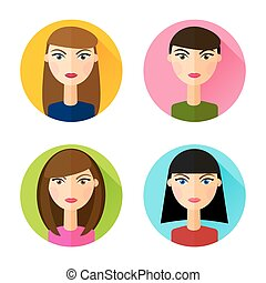 Set of flat style icons girls hair styles