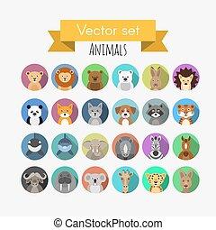 Set of flat style vector avatars of animals