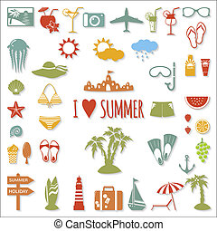 Set of flat summer elements.
