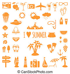 Set of flat summer icons.