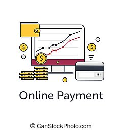 Set of flat thin line icons. E-commerce or payment online illustration. Monitor with graph, coins, wallet and credit card.
