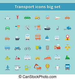 Set of flat transportation vehicles icons
