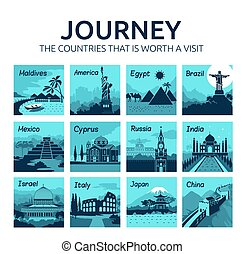Set of flat travel banners with different countries of world. Travel and tourism. Journey.