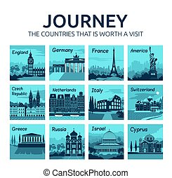 Set of flat travel icons with different countries. Journey. Countries that is worth visit