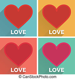 Set of flat typographic Valentines Day labels with long shadow