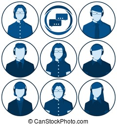 Set of flat vector avatars of men and women with headset -...