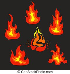 Set of flat vector fire icons