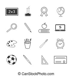 Set of flat vector icons about school.