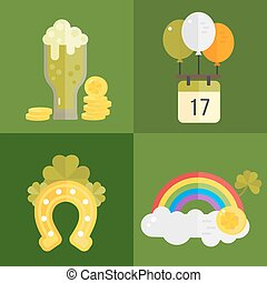 Set of flat vector icons for St.Patricks day