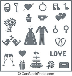 Set of flat vector icons for wedding or Valentine's day -...