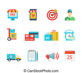 Set of flat vector purchase and delivery icons with a sale sign store trolley salesman delivery credit card bags 24-hour van or truck delivery notice megaphone and calendar