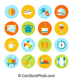 Set of flat vector travel and tourism icons.