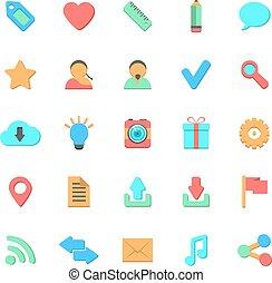 set of flat web icons