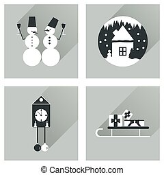 Set of flat web icons with long shadow Christmas