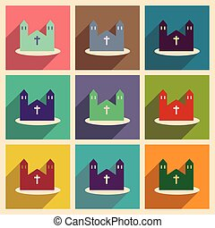 Set of flat web icons with long shadow church
