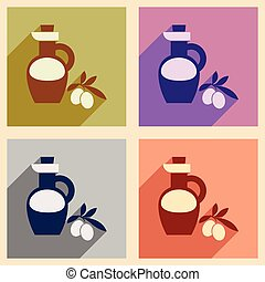 Set of flat web icons with long shadow olive oil