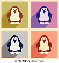Set of flat web icons with long shadow penguin