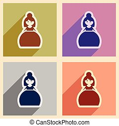 Set of flat web icons with long shadow bride