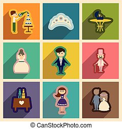Set of flat web icons with long shadow wedding