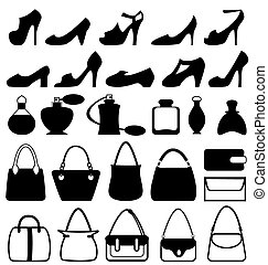 Set of flat woman accessories isolated on white
