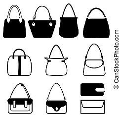 Set of flat woman bags isolated on white