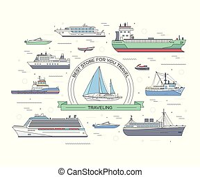 Set of flat yacht, scooter, boat, cargo ship, steamship, ferry, fishing boat, tug, bulk carrier, vessel, pleasure boat, cruise ship with blue sea background concept. Vector design thin line icons
