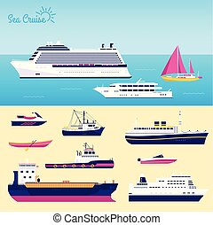 Set of flat yacht, scooter, boat, cargo ship, steamship, ferry, fishing boat, tug, bulk carrier, vessel, pleasure boat, cruise ship with blue sea background concept. Vector design