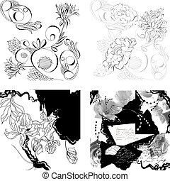Set of floral background
