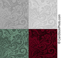 set of floral backgrounds