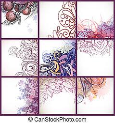 Set Of Floral Backgrounds.