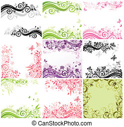 Set of floral banners