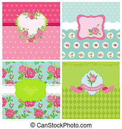 Set of Floral Card - Floral Shabby Chic Theme - for design and scrapbook - in vector