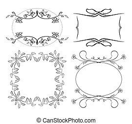 set of floral decorative - frames