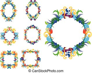 Set of floral decorative frames