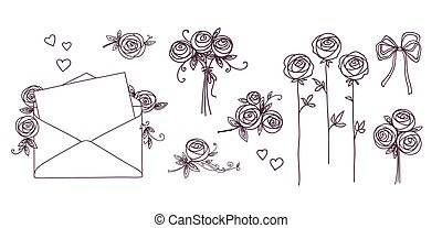 Set of floral design elements. Flower branch wreaths heart. Roses flowers. Wedding birthday valentines day concept.